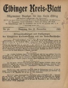 Kreis-Blatt des Königlich Preußischen Landraths-Amtes zu Elbing, Nr. 95 Dienstag 22 November 1910