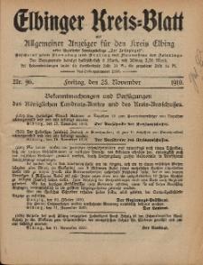 Kreis-Blatt des Königlich Preußischen Landraths-Amtes zu Elbing, Nr. 96 Freitag 25 November 1910