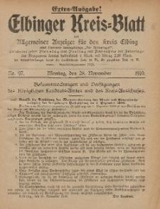 Kreis-Blatt des Königlich Preußischen Landraths-Amtes zu Elbing, Nr. 97 Montag 28 November 1910