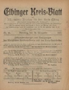 Kreis-Blatt des Königlich Preußischen Landraths-Amtes zu Elbing, Nr. 98 Dienstag 29 November 1910