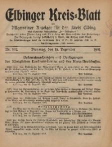 Kreis-Blatt des Königlich Preußischen Landraths-Amtes zu Elbing, Nr. 102 Dienstag 13 Dezember 1910