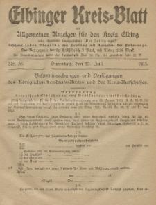 Kreis-Blatt des Königlich Preußischen Landraths-Amtes zu Elbing, Nr. 56 Dienstag 13 Juli 1915
