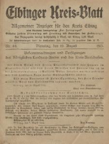 Kreis-Blatt des Königlich Preußischen Landraths-Amtes zu Elbing, Nr. 64 Dienstag 10 August 1915