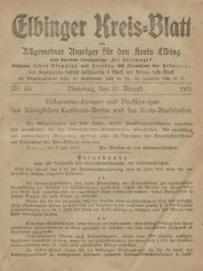 Kreis-Blatt des Königlich Preußischen Landraths-Amtes zu Elbing, Nr. 66 Dienstag 17 August 1915