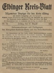 Kreis-Blatt des Königlich Preußischen Landraths-Amtes zu Elbing, Nr. 69 Freitag 27 August 1915