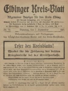 Kreis-Blatt des Königlich Preußischen Landraths-Amtes zu Elbing, Nr. 72 Dienstag 7 September 1915