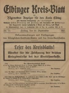 Kreis-Blatt des Königlich Preußischen Landraths-Amtes zu Elbing, Nr. 73 Freitag 10 September 1915