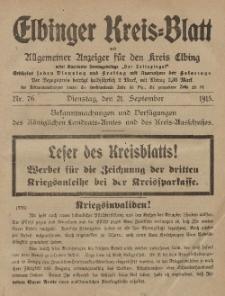 Kreis-Blatt des Königlich Preußischen Landraths-Amtes zu Elbing, Nr. 76 Dienstag 21 September 1915