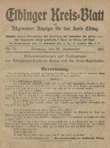 Kreis-Blatt des Königlich Preußischen Landraths-Amtes zu Elbing, Nr. 78 Dienstag 28 September 1915