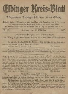 Kreis-Blatt des Königlich Preußischen Landraths-Amtes zu Elbing, Nr. 81 Freitag 8 Oktober 1915