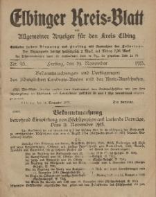 Kreis-Blatt des Königlich Preußischen Landraths-Amtes zu Elbing, Nr. 93 Freitag 19 November 1915