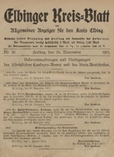 Kreis-Blatt des Königlich Preußischen Landraths-Amtes zu Elbing, Nr. 95 Freitag 26 November 1915