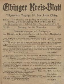 Kreis-Blatt des Königlich Preußischen Landraths-Amtes zu Elbing, Nr. 96 Dienstag 30 November 1915