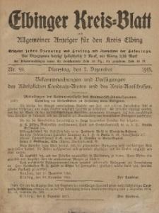 Kreis-Blatt des Königlich Preußischen Landraths-Amtes zu Elbing, Nr. 98 Dienstag 7 Dezember 1915