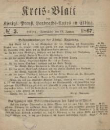 Kreis-Blatt des Königlich Preußischen Landraths-Amtes zu Elbing, Nr. 3 Sonnabend 19 Januar 1867