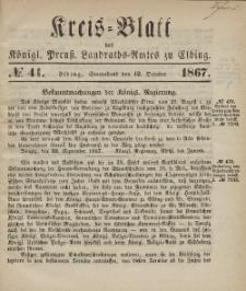 Kreis-Blatt des Königlich Preußischen Landraths-Amtes zu Elbing, Nr. 41 Sonnabend 12 Oktober 1867