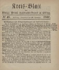 Kreis-Blatt des Königlich Preußischen Landraths-Amtes zu Elbing, Nr. 48 Sonnabend 30 November 1867