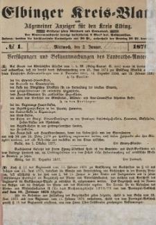 Kreis-Blatt des Königlich Preußischen Landraths-Amtes zu Elbing, Nr. 1 Mittwoch 2 Januar 1878