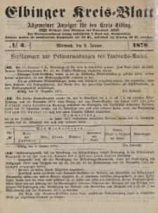 Kreis-Blatt des Königlich Preußischen Landraths-Amtes zu Elbing, Nr. 3 Mittwoch 9 Januar 1878