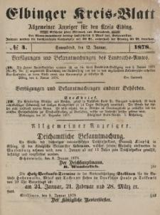 Kreis-Blatt des Königlich Preußischen Landraths-Amtes zu Elbing, Nr. 4 Sonnabend 12 Januar 1878