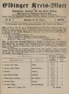 Kreis-Blatt des Königlich Preußischen Landraths-Amtes zu Elbing, Nr. 5 Mittwoch 16 Januar 1878