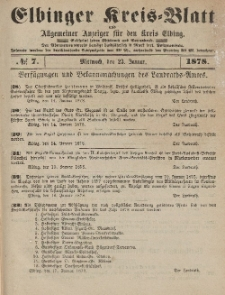 Kreis-Blatt des Königlich Preußischen Landraths-Amtes zu Elbing, Nr. 7 Mittwoch 23 Januar 1878