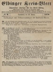 Kreis-Blatt des Königlich Preußischen Landraths-Amtes zu Elbing, Nr. 8 Sonnabend 26 Januar 1878