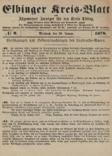 Kreis-Blatt des Königlich Preußischen Landraths-Amtes zu Elbing, Nr. 9 Mittwoch 30 Januar 1878