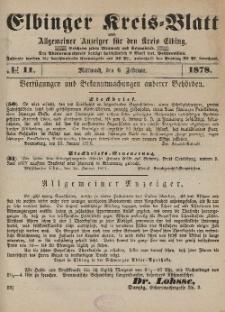 Kreis-Blatt des Königlich Preußischen Landraths-Amtes zu Elbing, Nr. 11 Mittwoch 6 Februar 1878