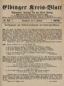 Kreis-Blatt des Königlich Preußischen Landraths-Amtes zu Elbing, Nr. 12 Sonnabend 9 Februar 1878