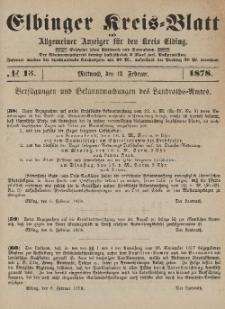 Kreis-Blatt des Königlich Preußischen Landraths-Amtes zu Elbing, Nr. 13 Mittwoch 13 Februar 1878