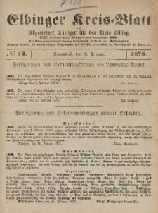 Kreis-Blatt des Königlich Preußischen Landraths-Amtes zu Elbing, Nr. 14 Sonnabend 16 Februar 1878