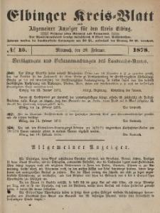 Kreis-Blatt des Königlich Preußischen Landraths-Amtes zu Elbing, Nr. 15 Mittwoch 20 Februar 1878