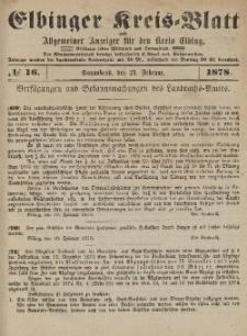 Kreis-Blatt des Königlich Preußischen Landraths-Amtes zu Elbing, Nr. 16 Sonnabend 23 Februar 1878