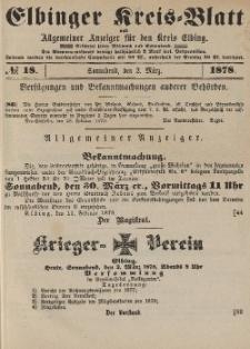 Kreis-Blatt des Königlich Preußischen Landraths-Amtes zu Elbing, Nr. 18 Sonnabend 2 März 1878