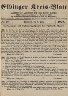 Kreis-Blatt des Königlich Preußischen Landraths-Amtes zu Elbing, Nr. 20 Sonnabend 9 März 1878