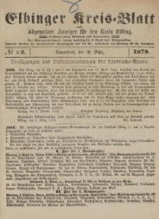 Kreis-Blatt des Königlich Preußischen Landraths-Amtes zu Elbing, Nr. 22 Sonnabend 16 März 1878