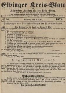 Kreis-Blatt des Königlich Preußischen Landraths-Amtes zu Elbing, Nr. 27 Mittwoch 3 April 1878