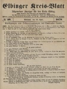 Kreis-Blatt des Königlich Preußischen Landraths-Amtes zu Elbing, Nr. 29 Mittwoch 10 April 1878