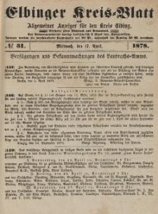 Kreis-Blatt des Königlich Preußischen Landraths-Amtes zu Elbing, Nr. 31 Mittwoch 17 April 1878