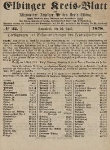 Kreis-Blatt des Königlich Preußischen Landraths-Amtes zu Elbing, Nr. 32 Sonnabend 20 April 1878