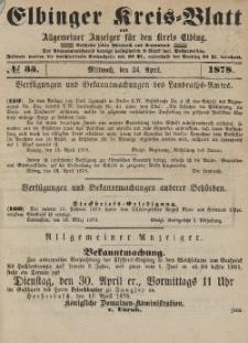 Kreis-Blatt des Königlich Preußischen Landraths-Amtes zu Elbing, Nr. 33 Mittwoch 24 April 1878