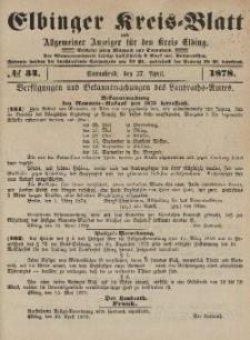 Kreis-Blatt des Königlich Preußischen Landraths-Amtes zu Elbing, Nr. 34 Sonnabend 27 April 1878
