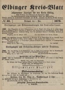 Kreis-Blatt des Königlich Preußischen Landraths-Amtes zu Elbing, Nr. 35 Mittwoch 1 Mai 1878