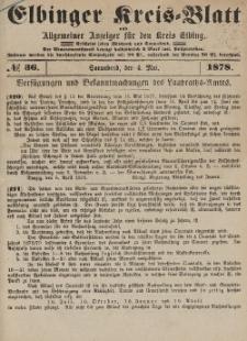 Kreis-Blatt des Königlich Preußischen Landraths-Amtes zu Elbing, Nr. 36 Sonnabend 4 Mai 1878