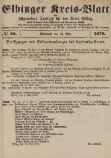 Kreis-Blatt des Königlich Preußischen Landraths-Amtes zu Elbing, Nr. 39 Mittwoch 15 Mai 1878
