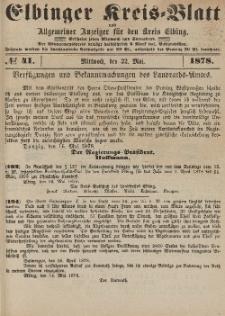 Kreis-Blatt des Königlich Preußischen Landraths-Amtes zu Elbing, Nr. 41 Mittwoch 22 Mai 1878