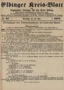 Kreis-Blatt des Königlich Preußischen Landraths-Amtes zu Elbing, Nr. 43 Mittwoch 29 Mai 1878