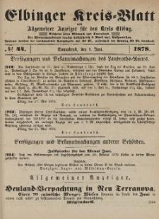 Kreis-Blatt des Königlich Preußischen Landraths-Amtes zu Elbing, Nr. 44 Sonnabend 1 Juni 1878