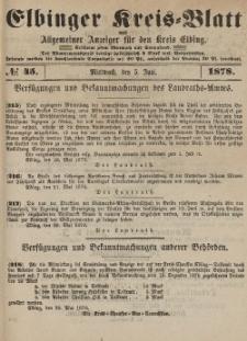 Kreis-Blatt des Königlich Preußischen Landraths-Amtes zu Elbing, Nr. 45 Mittwoch 5 Juni 1878
